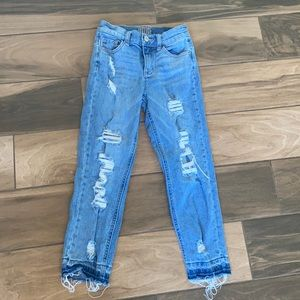 Justice distressed denim girlfriend jeans 10 slim